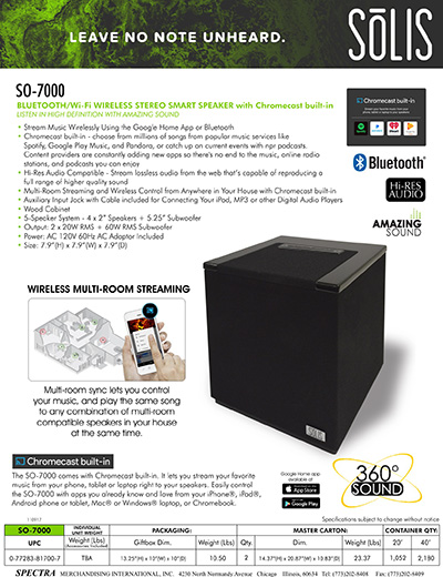 SōLIS SO-7000 Bluetooth/Wi-Fi Wireless Stereo Smart Speaker